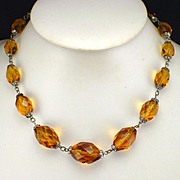 Art Deco Faceted Amber Glass Graduated Necklace