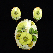 Vintage Handpainted Floral Porcelain Brooch and Earrings