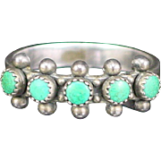 Early Navajo Sterling Green Turquoise Snake Eye Row Ring Size 8