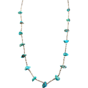 Vintage Turquoise Nugget Sell Heishi Necklace