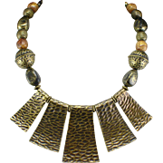 Large Bold VCLM  Brass Color Festoon Statement Necklace