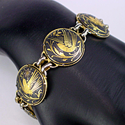 Substantial Vintage Damascene Bird and Flowers Link Bracelet