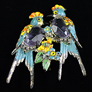 Early Molded Plastic Jelly Belly Enamel Love Birds Brooch Pin