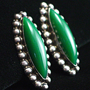Large Early Mexican Plata Sterling Green Onyx Screw Back Earrings