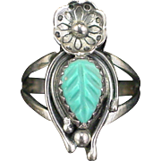 Early Native American Sterling Carved Turquoise Flower Ring Size 4-3/4