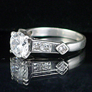 Estate Large Glitzy  Sterling CZ Cocktail Ring Size 8