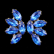 Stunning Vintage Sterling Sapphire Blue Rhinestone Screw Back Earrings