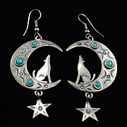 Unique 1988 JJ Southwestern Style Coyote and Moon Dangle Earrings