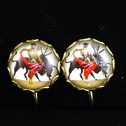 Unique Reverse Painted Dome Glass Matador Bullfighting Screw Back Earrings