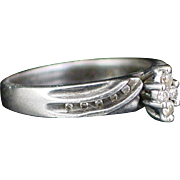 Early Retro Sterling Diamond Cluster Ring Size 6-1/2