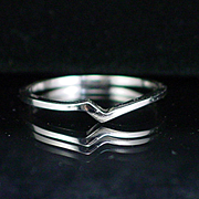 Classy 10k White Gold Wedding Band or Add On Ring Size 7