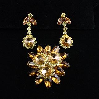 Fabulous 1965 Hobe Amber Rhinestone Brooch and Dangle Earrings