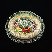 Vintage Italian Micro Mosaic Brooch Pin