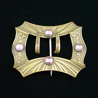 Large Art Deco Brass and Faceted Stone Buckle Sash Pin Brooch