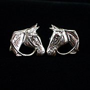 Unique Vintage Sterling Horse Head Screw Back Earrings