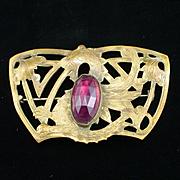 Large Art Deco Dragon Sash Pin Brooch with Large Amethyst Rhinestone Body