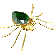 Large Unique Art Deco Spider Brooch with Faceted Green Glass Body