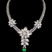 Large Vintage Glitzy Rhinestone Festoon Choker Necklace