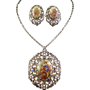 Large Vintage West Germany Rhinestone and Romantic Scene Necklace & Earrings