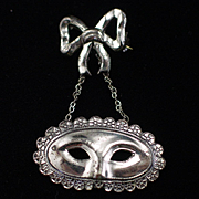 Unique Vintage Sterling Mardi Gras Mask Dangling Brooch Pin