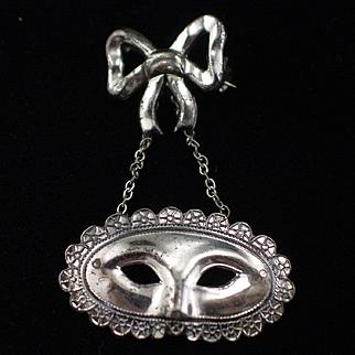 Unique Vintage Sterling Mardi Gras Mask Dangling Brooch Pin