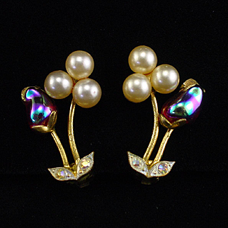 Unique West Germany Pearls and Fire Opal Glass Earrings