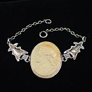 Early 1900s Sterling Lava Cameo Bracelet