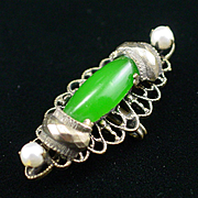 Unique Sandor Jade Glass and Cultured Pearl Watch Pin