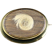 Large Victorian 10K Hair Mourning Brooch Pin