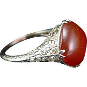 Gorgeous Early 1900s 14k White Gold Carnelian Ring Size 5