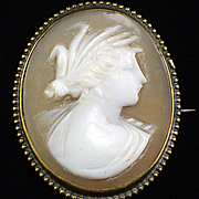 Elegant 10k Art Deco Carved Shell Cameo of Demeter Pin Brooch