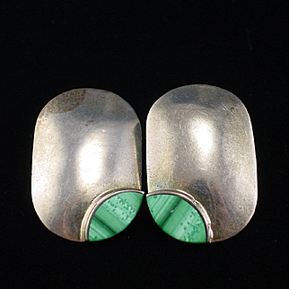 Vintage Mexico Large Bold Sterling Malachite Earrings  for Pierced Ears