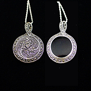 Vintage Sterling Onyx and Marcasite Double Sided Pendant Necklace