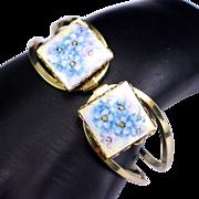 Vintage Hand Painted Flowers Porcelain Clamper Bracelet