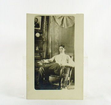 CYKO Real Photo RPPC of Young Man in Mission Style Rocker