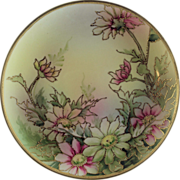Nippon Porcelain Hand Painted Plaque in Floral Pattern