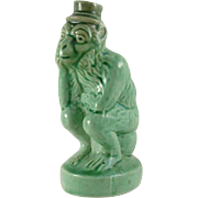 Pottery Monkey on a Chamber Pot In Green