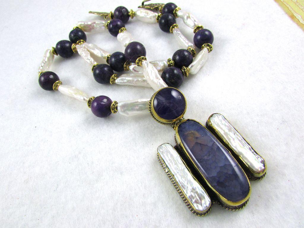 Artisan Purple Angel Necklace: Jasper, Pearl, Brass, 23-3/4 Inches