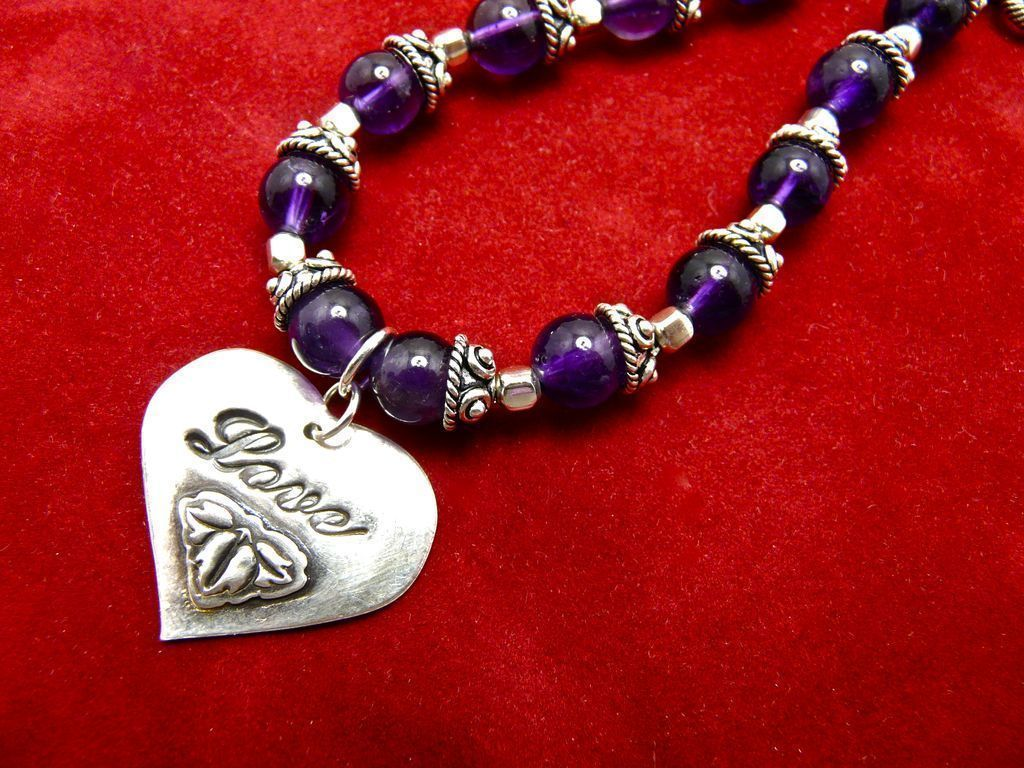 Amethyst & Sterling Love Bracelet, 7-1/2 Inches