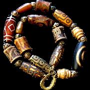 Unisex Tibetan Agate Dzi Bead Necklace, 20-3/4 Inches