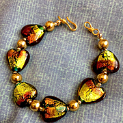 Lime and Copper Lampwork Heart Bracelet, 8 Inches