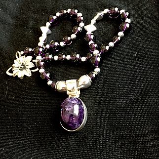 Amethyst and Sterling Silver Pendant  Necklace, 18 Inches