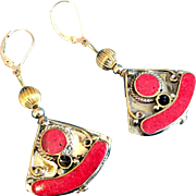 Artisan Brass & Red Resin Nepalese Earrings