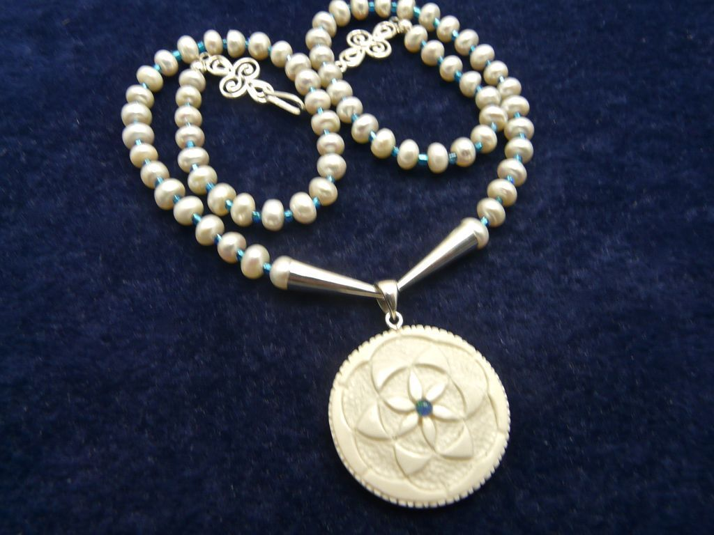 Flower of Life Mandala Necklace of Bone and Pearl, 20-1/2 Inches