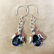 Rainbow Topaz & Sterling Silver Dangle Earrings, 2-1/8 Inches