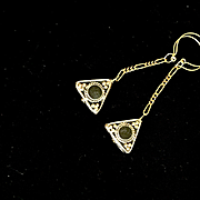 Brass & Black Onyx Triangle Dangle Earrings. 3-1/4 Inches