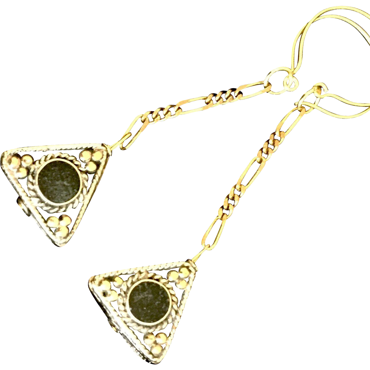 brass black onyx triangle dangle earrings 3 1 4 inches from auraeanaoriginals on ruby lane. Black Bedroom Furniture Sets. Home Design Ideas
