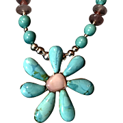 Blue Turquoise Flower Necklace, 21 Inches