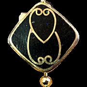 Dodo Bird Earrings of Brass & Black Howlite, 1-1/4 Inches