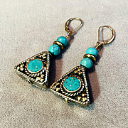 Brass & Turquoise Triangle  Earrings, 1-1/2 Inches